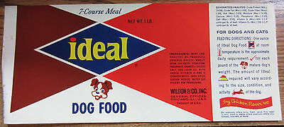 Vintage Dog Food Label:  1960s Ideal Dog Food 7-course meal, Chicago