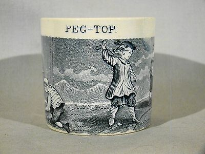Fine Antique Staffordshire Pearlware Peg - Top Child's Mug early 19th c