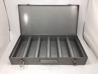 Vintage Grey Metal 35mm Slide or 2x2 Coin Storage Case Box