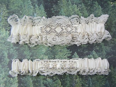 IVORY Lace wedding garters prom garter with pearls and rhinestones