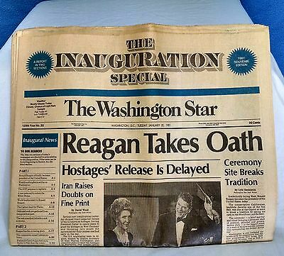 """The Inauguration Special THE WASHINGTON STAR 1981 Newspaper """"Reagan Takes Oath"""""""