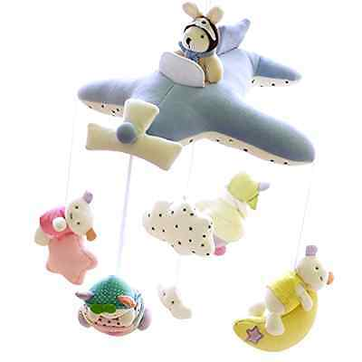 SHILOH Deluxe Baby Plush Crib Mobile with 60 songs Musical Box and Arm-Blue Plan