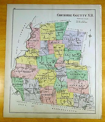 Antique Hand-Colored Map CHESHIRE COUNTY, NH 1892 DEERING New Hampshire ORIGINAL