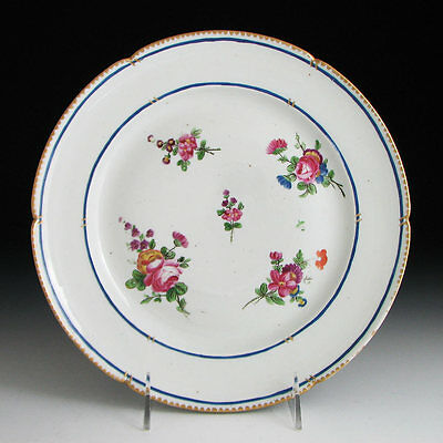 18th C. NIDERVILLER FRENCH PORCELAIN PLATE SEVRES PATTERN HAND PAINTED FLOWERS