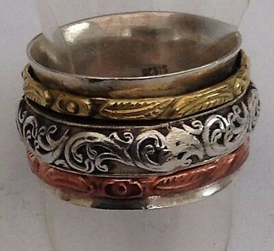 WIDE BAND SILVER TRIPLE SPINNER RING WITH GOLD Size Q
