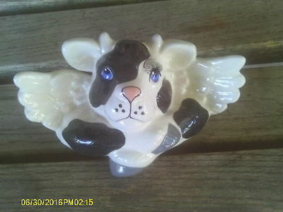 Ceramic Black & White Angel Cow with Wings Shelf Sitter