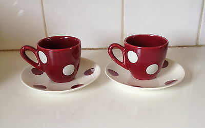 Vintage J & G Meakin England Sol Studio Polka Dot Duos Cups & Saucers Retro 1950