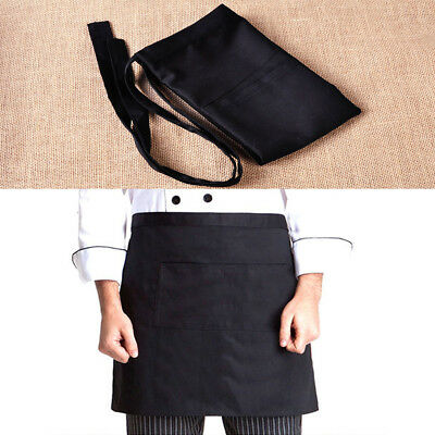 Black Half Short Waist Apron With Pocket For Cafe Bar Waiter Waitress Barista