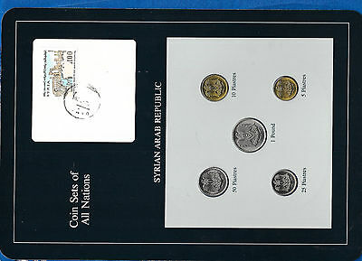 Coin Sets of All Nations Syria Syrian w/cardUNC 1979 5,10,25,50 Piastres 1 Pound