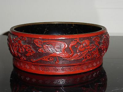 Old Chinese Carved Cinnabar Lacquer Bowl