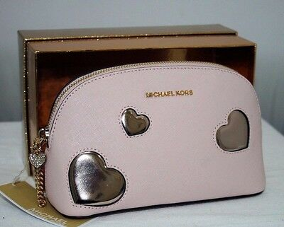 Michael Kors Peek A Boo Heart Pink Large Leather Travel Pouch.make Up Bag!