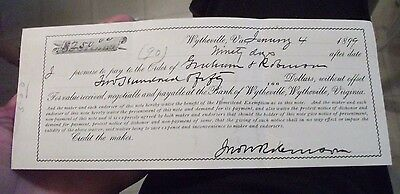 """Collectible 1899 Bank Receipt """"BANK OF WYTHEVILLE"""" Wytheville,Va w/Orig. Stamps/"""