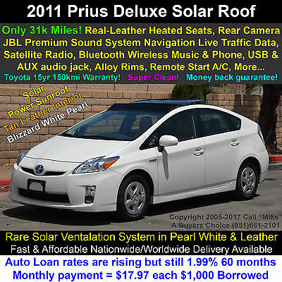 2011 Toyota Prius 4 Deluxe Solar Roof, Moonroof, Leather, Navigation Leather Heated Seats, Solar Pwr. Sunroof, Navigation+Traffic+Bluetooth, Warranty
