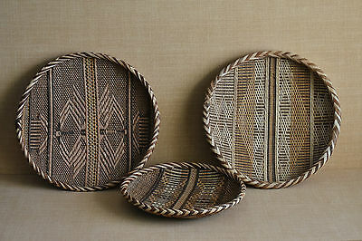 Three/3 Handmade Grass African Style Tight Weaved Woven Picnic Round Basket Bowl