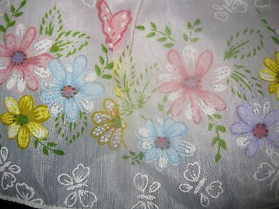 Vintage Butterfly Garden Ruffle Bedspread Skirted Coverlet Colorful Sham Twin