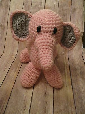 Crochet Pink Elephant Stuffed Animal Nursery Baby Shower Plush