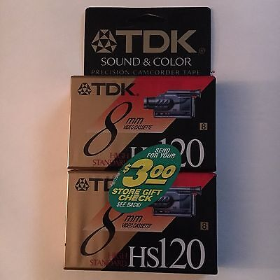 (2) camcorder TDK videocassettes - 8MM HS P6-120 - FREE SHIPPING - sealed NEW