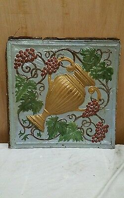 "24"" x 24"" Antique Ceiling Embossed Tin Tile with grapes and urn  RARE. (#2)"