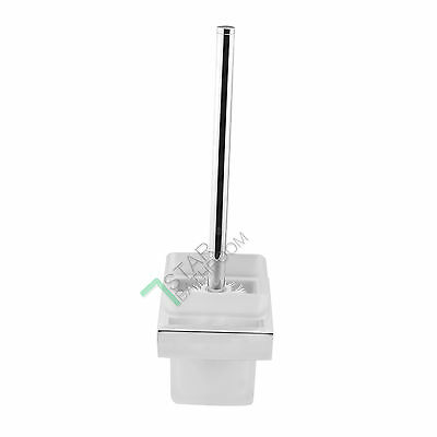 Toilet Brush Holder Wall Mount Silver Stainless Steel Matt Glass Square Cup Bath