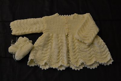 Hand Knitted Baby Matinee Jacket and booties set