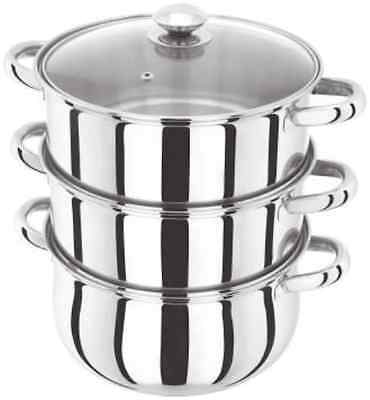 Judge 3 Tier Steamer Set with Glass lid, Silver, 24 cm
