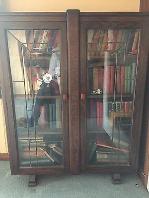 Large Antique Two Door Bookcase Cabinet