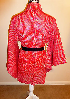 Vintage Japanese Cherry Red Silk Shibori Kimono Jacket 'Japanese Garden' Medium