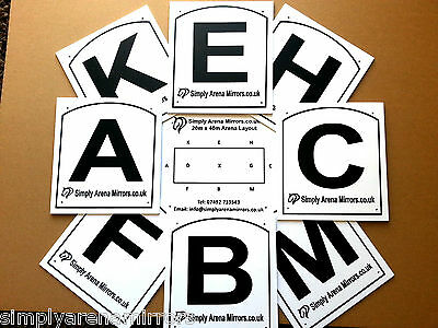 """Dressage Arena Letters / Markers - Durable Set of 8 approx.8½"""" x 7½"""" 4 holes"""