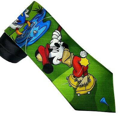Mickey Unlimited Golf Neck Tie Mickey Mouse Goofy and Donald Duck 100% Silk 59""