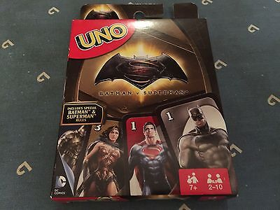 Batman V Superman Uno Card Game From Mattel With Bonus Cards & Rules Drl58