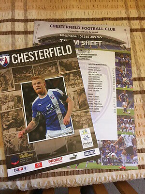 Chesterfield football programmes 2016/17 with team sheet Bolton