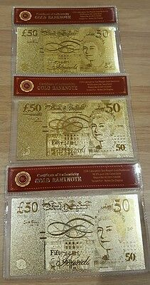 3x 24k gold banknotes with COA