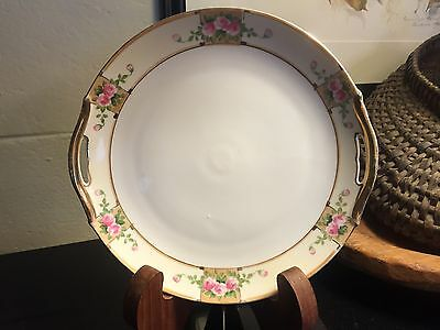 Vintage Nippon China Floral Cake Serving Plate Gold Handles Hand Painted