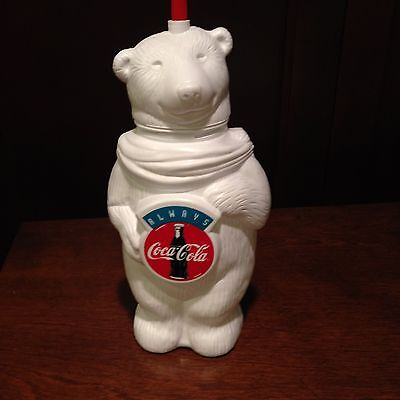 Coca Cola White Polar Bear Platic Drink Holder And Straw New
