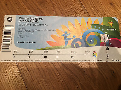 Ticket 2014 World Cup 3rd Place Play-Off Brazil v Holland