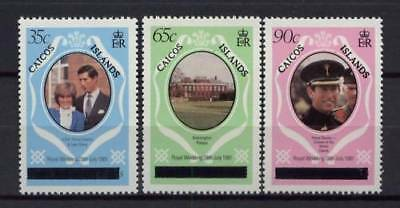 Caicos Islands 1981 Royal Wedding Set Of All 3 Values New York Print Mnh