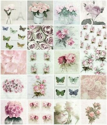 20x Different Table Party Paper Napkins for Decoupage Decopatch Sagen Flower MIX