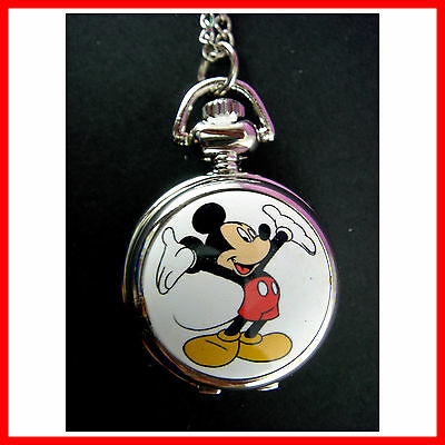 Mickey Mouse Child Women Ladies Girl Men Fashion Pocket Pendant Necklace Watch
