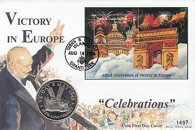 14 AUGUST 1995 50th ANNIVERSARY OF VE DAY LE COMMEMORATIVE COIN COVER SHSs