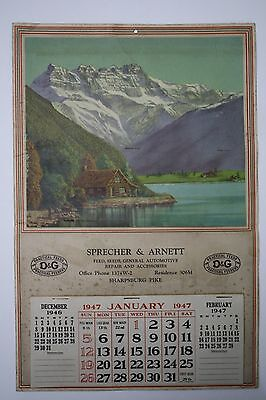 Original 1947 Lake Cabin Advertising Calendar - Hagerstown, MD. Feed Store