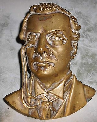 Unusual Brass 'bust Like' Plaque : Unknown Man Wearing Monocle