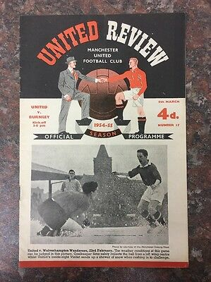 Manchester United Vs Burnley Football Programme From 1955