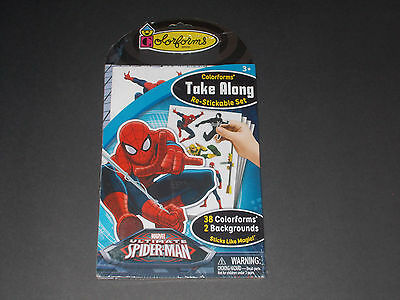 NIP Spiderman Colorforms Take Along Re-Stickable Set 38 Colorforms