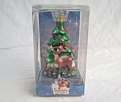 Rudolph The Red Nosed Reindeer Brass Key Collectible Hand Crafted Glass Ornament