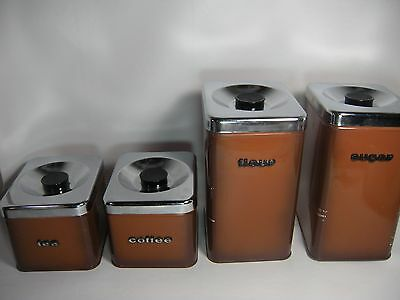 Vintage Metal Kitchen Canisters Set Of 4 The Queen Line by A.R. Lite Canada