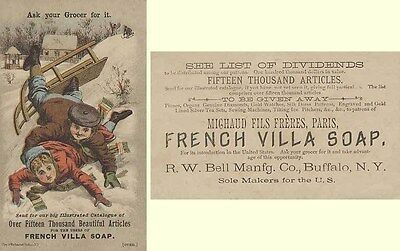 Victorian Trade Card - Boy & Girl Falling Off a Sled - French Villa Soap