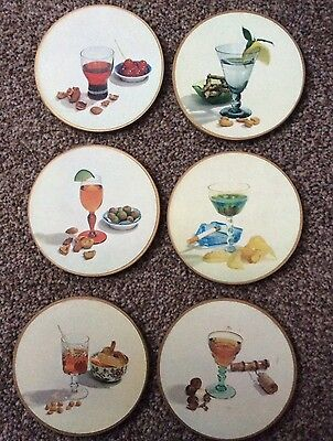 Set of 6 Vintage Drink Coasters - party - cocktail - themed - collector