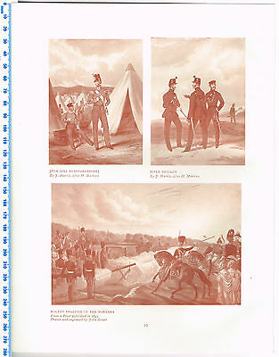 38th (1st Staffordshire), Rifle Brigade & Rocket Antique Military Picture Print