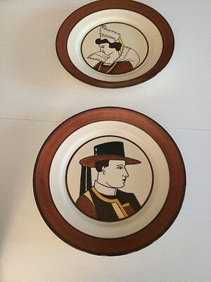 """2 HB Henriot Quimper France  9.5"""" Wall Plates / Dishes France"""