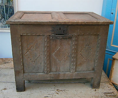 Early 17Th Century Oak Coffer, James 1St, Small Proportions, Original As Seen